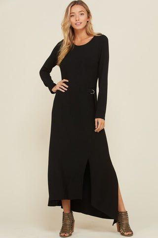 Asymmetrical Rib Knit Maxi Dress - Black