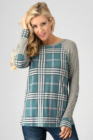 Plaid Perfection Top - Jade and Gray