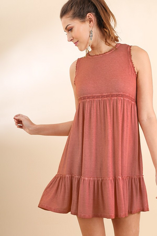 Lace Trim Sleeveless Dress - Rose