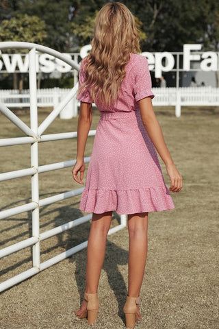 Ruffle Dotted Wrap Dress - Pink