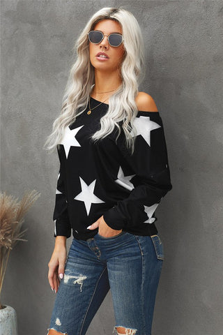 Off the Shoulder Star Top - Charcoal