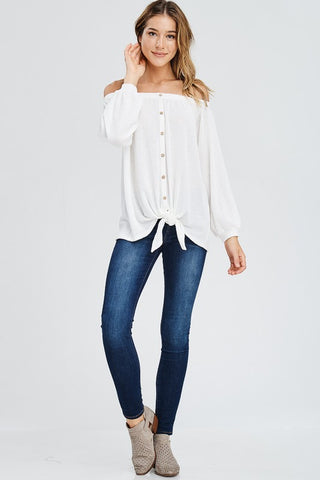 Off Shoulder Button Up Top - Off White