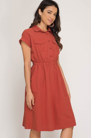Fall Midi Dress - Rust