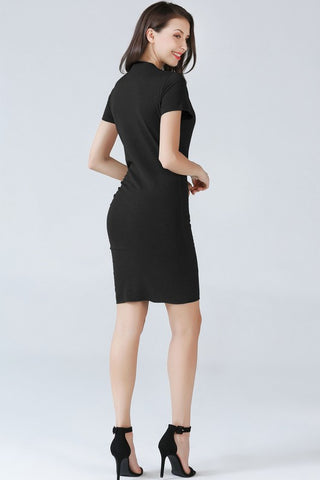 Ruched Short Sleeve Dress - Black