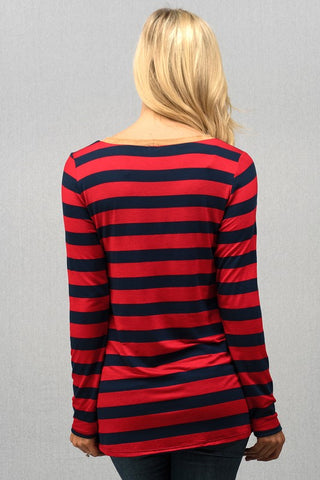 Sequined Striped Reindeer Top - Red