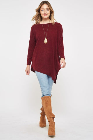 Asymmetrical Sweater Tunic Top - Burgundy