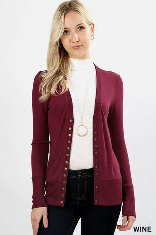 Snap Up Cardigan - Wine