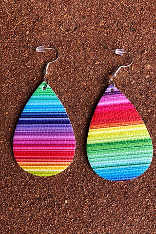 Rainbow Teardrop Leather Earrings