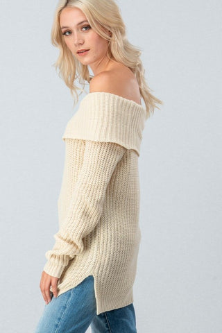Off Shoulder Cable Knit Sweater - Cream