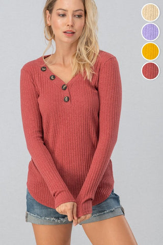 Ribbed Top with Button Detail - Berry