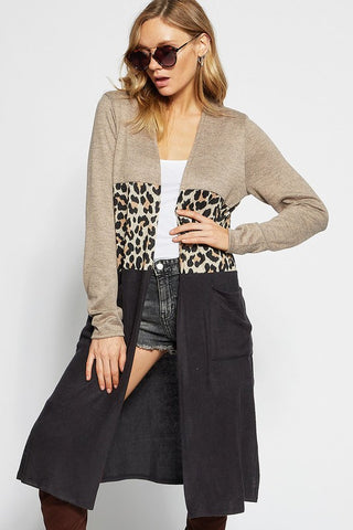 Color Block Leopard Cardigan - Mocha