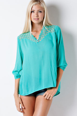 Flowy Lace Top - Jade - Blue Chic Boutique  - 1