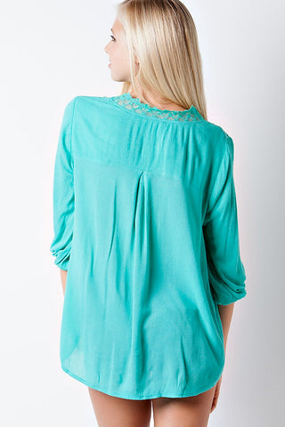 Flowy Lace Top - Jade - Blue Chic Boutique  - 3