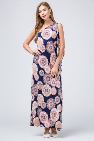 Elegant One Shoulder Maxi Dress - Navy