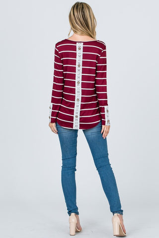 Lace Back Button Up Top - Burgundy