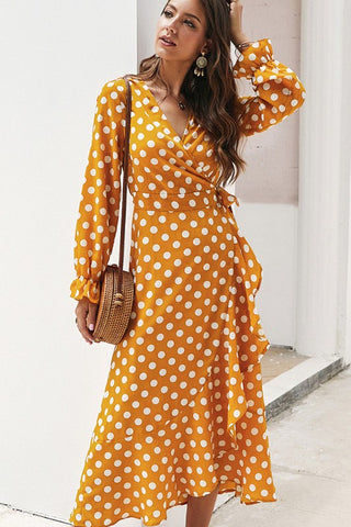 Polka Dot Midi Dress - Mustard