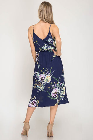 Wildflower Midi Dress - Navy