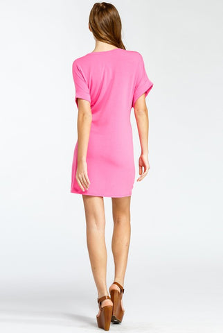 Casual Tie Dress - Fuchsia