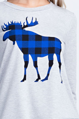 Plaid Moose Top - Grey