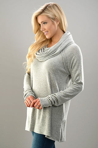Cozy Cowl Neck Top - Gray