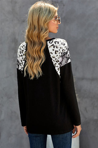 Leopard and Snakeskin Print Top - Black