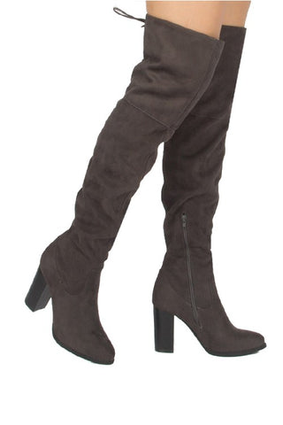 Over the Knee Lace Up Boots with Heel - Charcoal