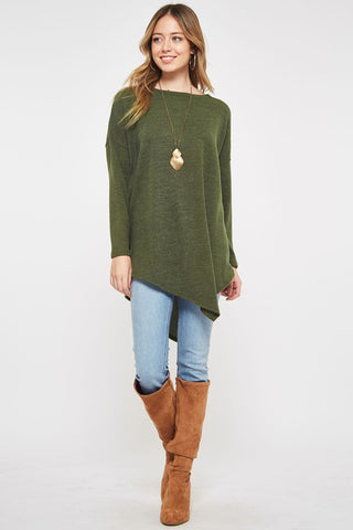 Asymmetrical Sweater Tunic Top - Olive