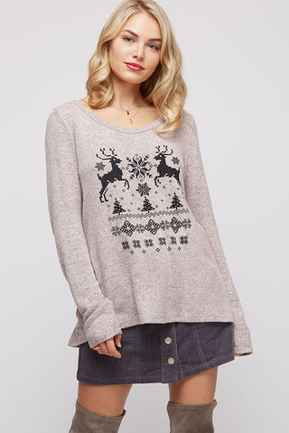 Reindeer and Christmas Trees Sweater - Pink
