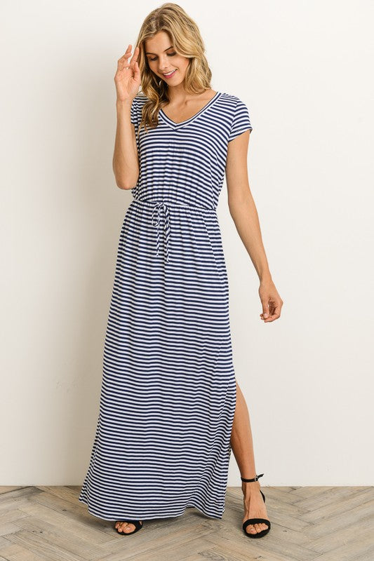 Cap Sleeve Striped Maxi Dress Navy Blue Chic Boutique