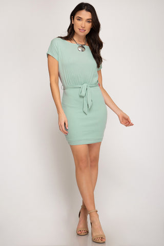 Fitted Dress with Sash - Mint Blush