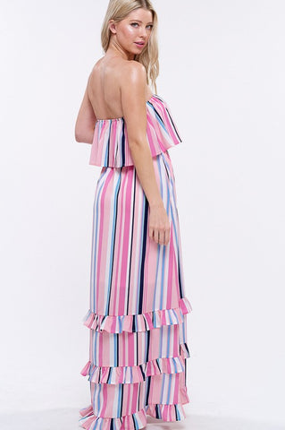 South of the Border Strapless Striped Maxi Dress - Pink Mix