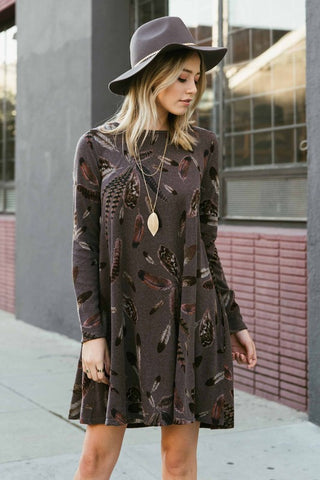 Feather Plumes Dress - Dark Mocha