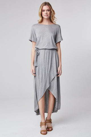 Short Sleeve Belted High Low Dress - Gray