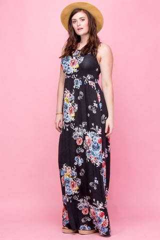 Garden Party Maxi Dress Plus - Black