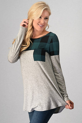 Cozy Winter Weekend Buffalo Plaid Top - Teal