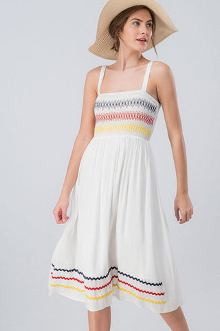 Embroidered Sundress - Off White