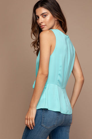 Twisted Waist Peplum Top - Aruba Blue
