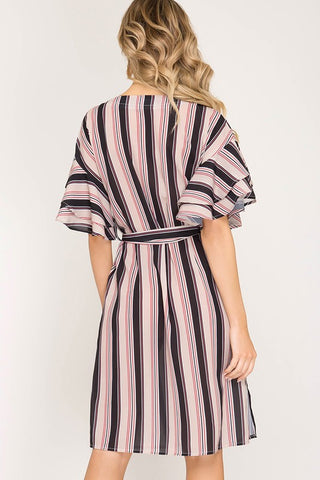 Classic Stripes Midi Dress - Taupe