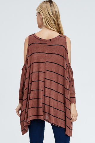 Cold Shoulder Striped Sweater - Rust
