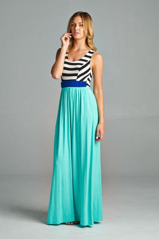 Criss Cross Back Striped Maxi - Mint