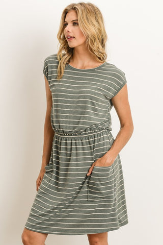 Casual Day Striped Dress - Olive