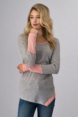 Long Sleeve Ribbed Top - Pink