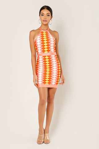 Halter Bandage Knit Dress - Orange