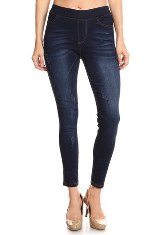 Elastic Waist Dark Wash Jeggings