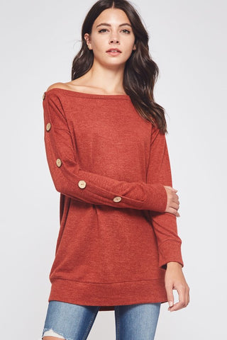 Off Shoulder Tunic with Button Detail - Rust