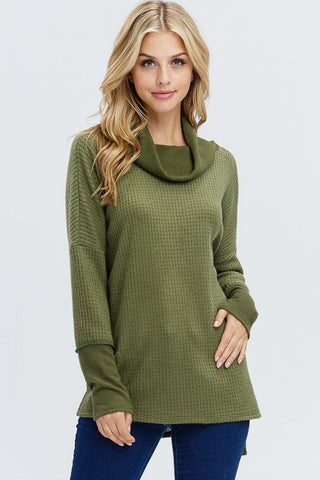 Fireside Cowl Neck Top - Olive