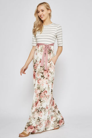 Step into Spring Floral and Stripes Maxi Dress - Mauve