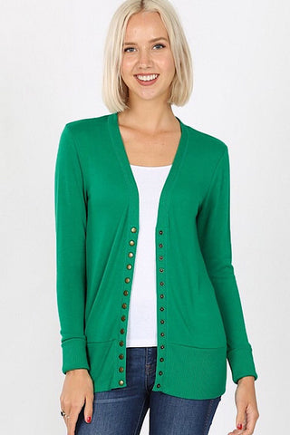 Snap Up Cardigan - Shamrock Green