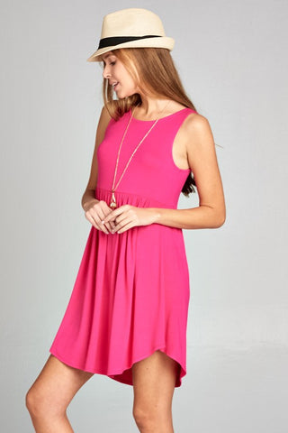 Simple Tank Style Dress - Hot Pink