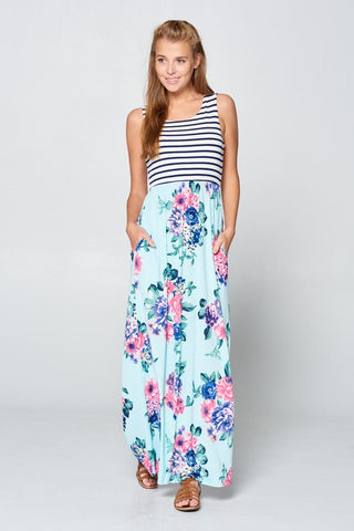 Striped and Floral Maxi Dress - Mint